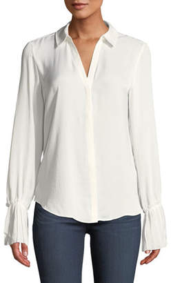 Paige Abriana Button-Front Bell-Sleeve Top