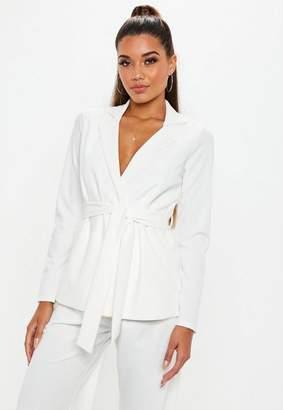 Missguided White Tie Waist Blazer