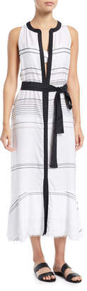 Proenza Schouler Sleeveless Long Striped Cotton-Voile Coverup Dress