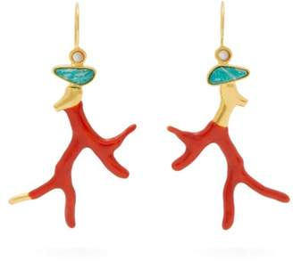 Lizzie Fortunato Napoli Coral Gold Plated Brass Drop Earrings - Womens - Red