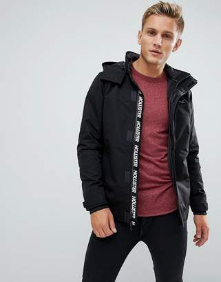Hollister Hooded Midweight Parka Jacket Contrast Detail Seagull Logo in Black