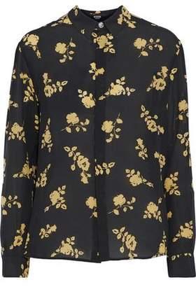 Versace Floral-Print Silk Crepe De Chine Shirt