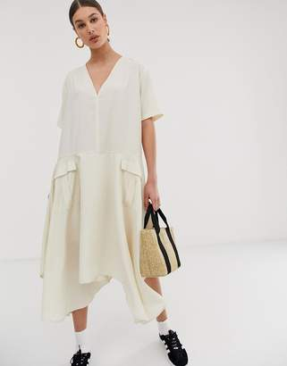 GHOSPELL oversized minimal midi dress with utility pockets