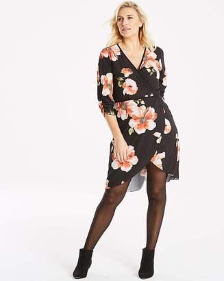 7d9ab83865dc Quiz Curve Quiz Long Black Floral Sleeve Wrap Dress
