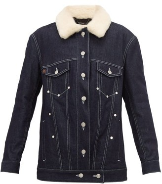 Chloé Shearling Denim Jacket - Womens - Dark Denim