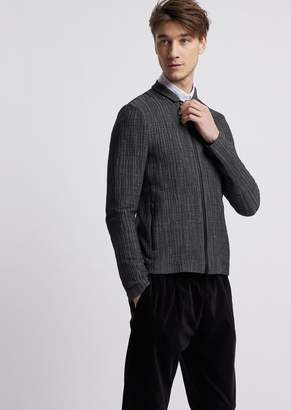 Emporio Armani Jacket In Patterned Stretch Jersey With Zip