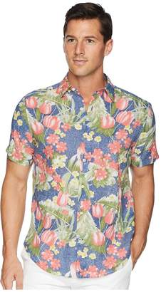 Nautica Hawaiian Print Linen Blend Shirt Men's Short Sleeve Button Up