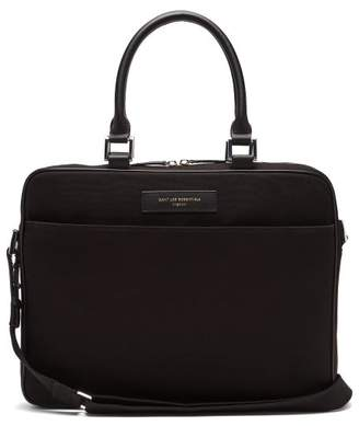 "Want Les Essentiels - Haneda 15"" Organic Cotton And Leather Laptop Bag - Mens - Black"
