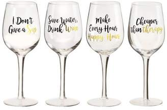 Global Amici Amici Home Wine Glasses, Assorted set of 4