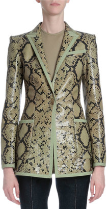Givenchy Snake-Embossed Leather Jacket, Green Multi $2,196 thestylecure.com