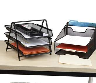 Mind Reader Metal Mesh Monitor Stand with Drawer Organizer, Mesh Desk Organizer 5 Trays Desktop Document Letter Tray for Folders, Mail, Stationary, Desk Accessories, Black 2 Pc Set