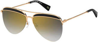 Marc Jacobs Inlay-Brow Metal Aviator Sunglasses