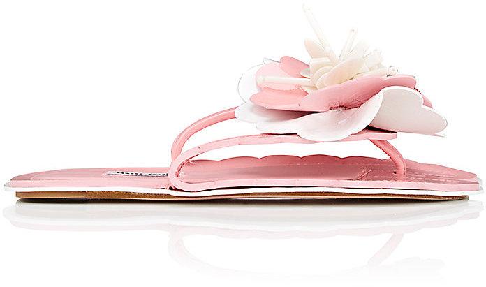 Miu Miu Women's Floral Patent Leather Slide Sandals