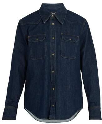 Calvin Klein Archive Western Embroidered Denim Shirt - Mens - Blue