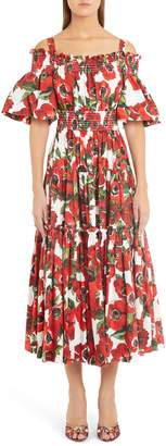Dolce & Gabbana Poppy Print Tiered Cotton Poplin A-Line Dress