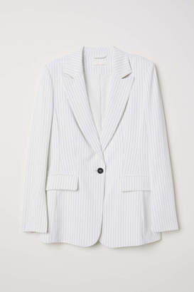 H&M Single-breasted Blazer - White/striped - Women