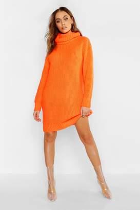 boohoo Oversized Roll Neck Soft Knit Sweater Dress