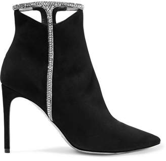 Rene Caovilla Cutout Crystal-embellished Suede Ankle Boots - Black
