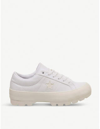 Converse One Star lugged canvas platform trainers