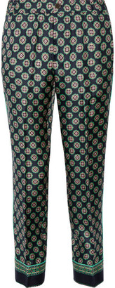 J.Crew - Quilina Cropped Printed Silk-twill Straight-leg Pants - Navy $120 thestylecure.com