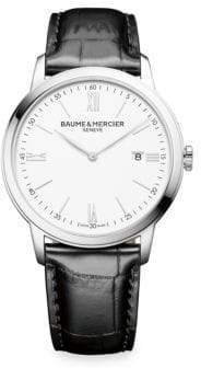 Baume & Mercier Classima 10415 White, Stainless Steel& Alligator Watch