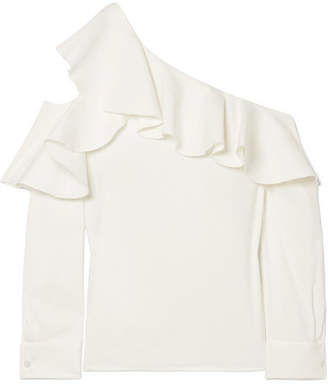 Oscar de la Renta Ruffled One-shoulder Stretch-silk Crepe Top - White