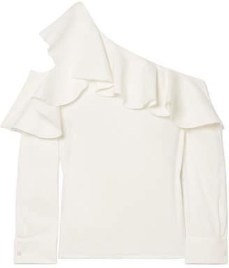 Oscar de la Renta - Ruffled One-shoulder Stretch-silk Crepe Top - White