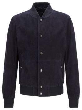 Regular-fit bomber-style jacket in lightweight suede