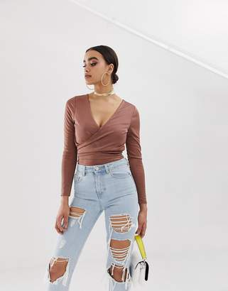 Asos Design DESIGN long sleeve wrap body in slinky