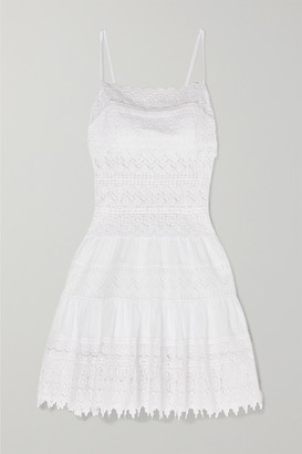 Charo Ruiz Ibiza Joya Crocheted Lace-paneled Cotton-blend Mini Dress - White