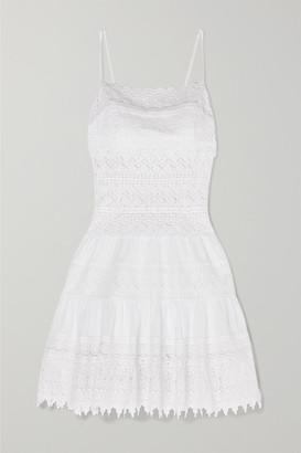 Joya Charo Ruiz Crocheted Lace-paneled Cotton-blend Mini Dress - White