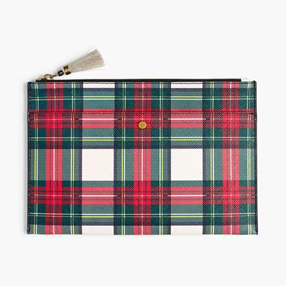 Large leather pouch in tartan