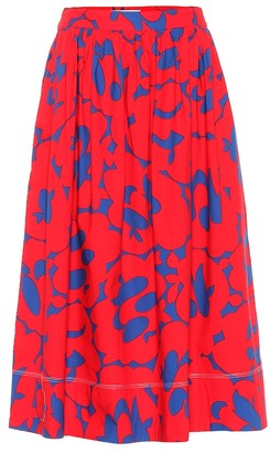Marni Printed cotton midi skirt