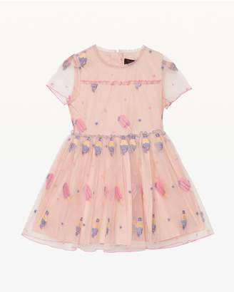 Juicy Couture Cool Treats Embroidered Mesh Party Dress for Girls