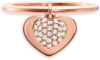Michael Kors Sterling Silver Crystal Pave Heart Ring