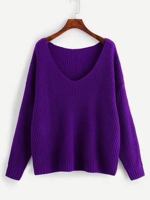 Shein Drop Shoulder Solid Cocoon Sweater