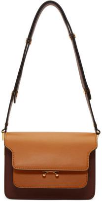 Marni Burgundy and Tan Small Trunk Bag