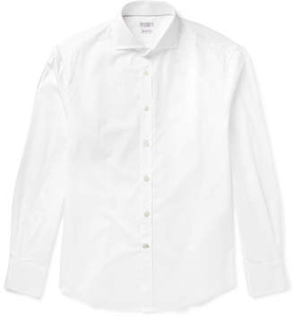 Brunello Cucinelli Slim-Fit Cutaway-Collar Cotton-Poplin Shirt - White