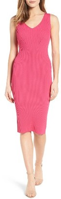 Women's Michael Michael Kors V-Neck Rib Knit Sweater Dress $175 thestylecure.com