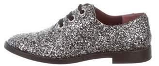 Marc Jacobs Glitter Round-Toe Oxfords Black Glitter Round-Toe Oxfords