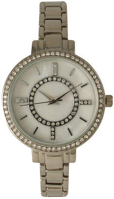Mother of Pearl OLIVIA PRATT Olivia Pratt Womens Rhinestone Bezel Faux Rhinestone Dial Silver-Tone Bracelet Watch 14403Silver