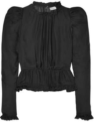 Magda Butrym Normandy Ruffle-trimmed Silk-chiffon Peplum Blouse - Black