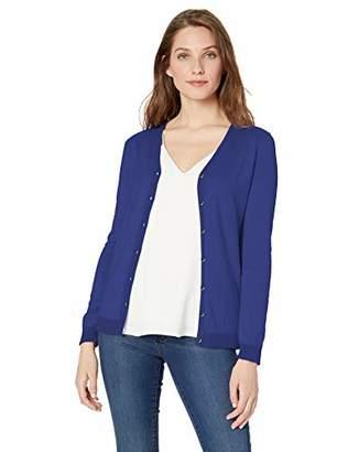 Lark & Ro Amazon Brand Women's Long Sleeve V Neck Pima Cotton Cardigan
