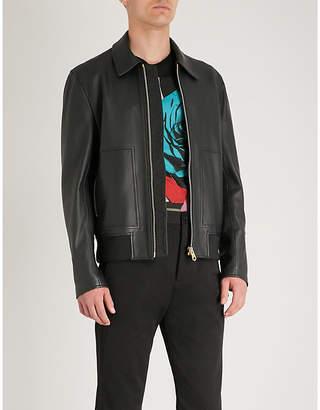 Paul Smith Zip-pocket leather Harrington jacket