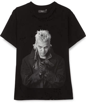 Amiri Lost Boys Distressed Printed Cotton-jersey T-shirt - Black
