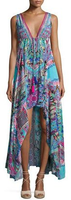 Camilla Embellished Crepe V-Neck Drawstring Maxi Dress, Festival Friends $800 thestylecure.com