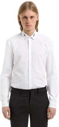 Neil Barrett Cotton Poplin Shirt W/ Printed Bolt