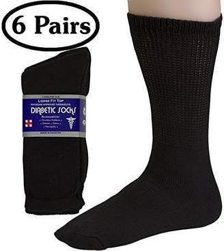 Diabetic Socks Womens Cotton 3-Pack Crew Black By DEBRA WEITZNER