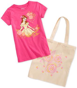 Disney Little Girls 2-Pc. Belle Graphic-Print T-Shirt & Tote Bag Set