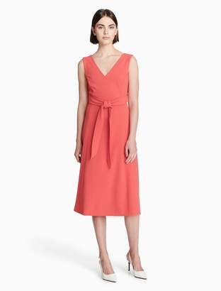 Calvin Klein v-neck belted fit + flare dress